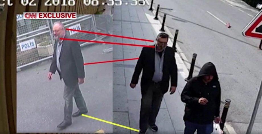 服と髭でカショギ氏に変装した殺害容疑者が、同氏死亡後に監視カメラに撮影される=CNN  https://t.co/am8Y9ZJST6