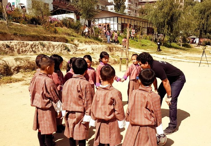 Had a great time playing football with these cute little kids in Bhutan. After the game, we washed our hands with soap to demonstrate that playing is important but what's even more important is to wash our hands after any activity, especially before eating food. #IWashMyHands