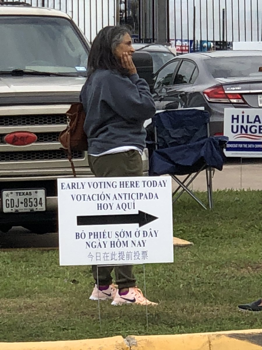 Early voting starts today in Texas. I am in line to vote.