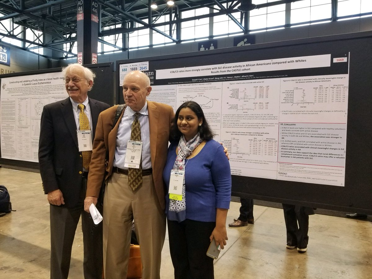 Our Lupus Clinic Co-Director, Dr. Deepali Sen, stopping her presentation of the #CASTLE study to take a picture with Drs. John Atkinson and Seth Eisen. #ACR18 #lupus #WashURheum #WUSTL #WUSM #WashULupusClinic