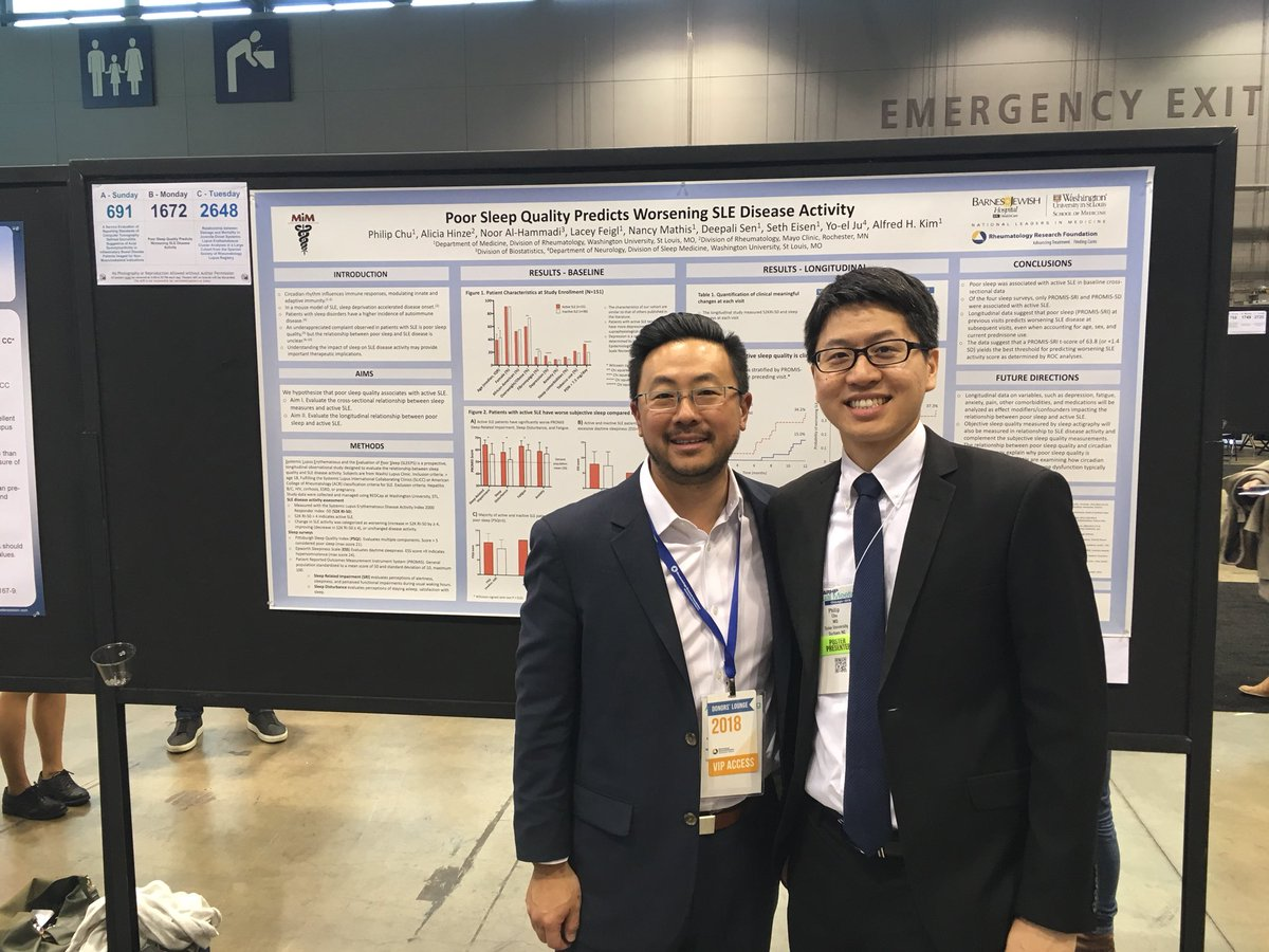 Our Lupus Clinic Co-Director, Dr. Al Kim and previous #Barnes hospitalist (current @DukeHealth Rheumatology fellow), Dr. Phillip Chu, presenting our #SLEEPStudy data at #ACR18! #Lupus #WashULupusClinic #WUSM #WUSTL