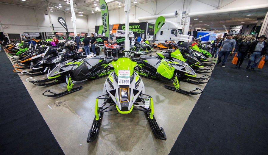 Snowmobile, all-terrain vehicle (ATV) and off-road enthusiasts flood 2018 Toronto International Snowmobile, ATV & Powersports Show (). O#TISAPSver 1,000 vehicles on display