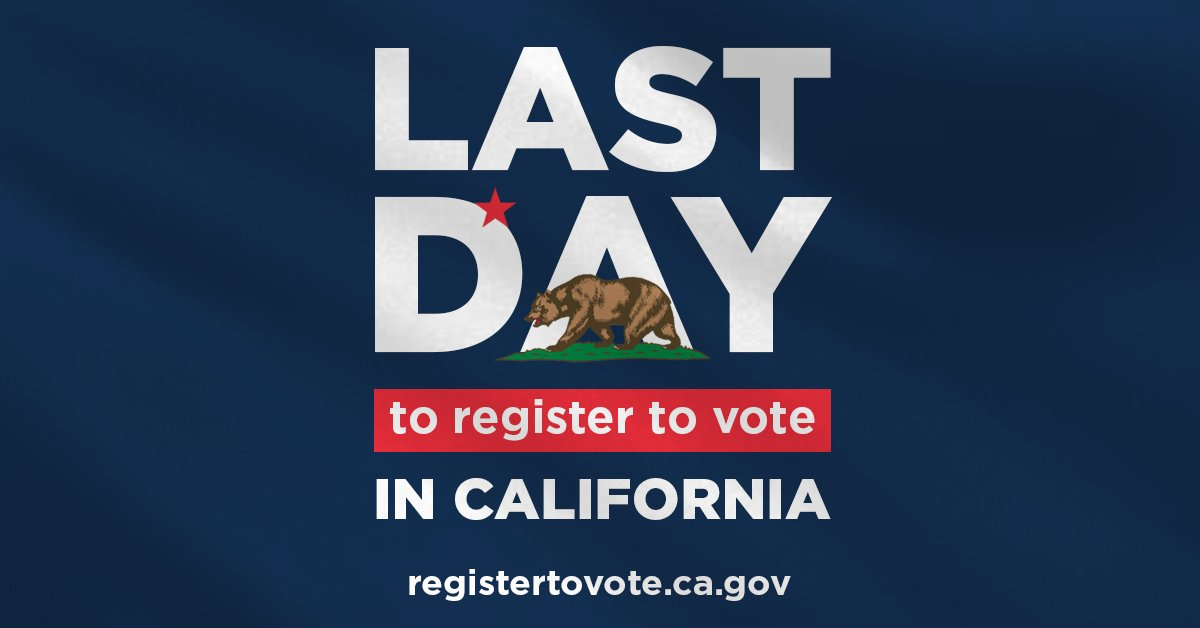 Vote early. Vote at your polling place. Vote by mail. Whichever way you cast your ballot, you can't do it if you're not registered. It's the last day to do so in California! Go to https://t.co/3jw5qQcaXj now.  (CA does have conditional voter registration through Election Day).