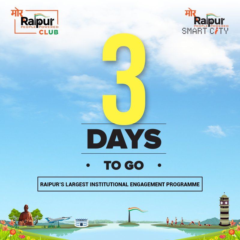 Just 3 DAYS TO GO for Raipurs largest institutional engagement programme! Colleges, are you ready? Register your college on the link below: goo.gl/forms/uCBNOlI2… #MorRaipur #MorZimmedari #MondayMotivation