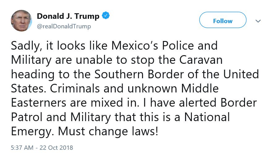 Nobody has presented any evidence that there are people from the Middle East in the migrant caravan.