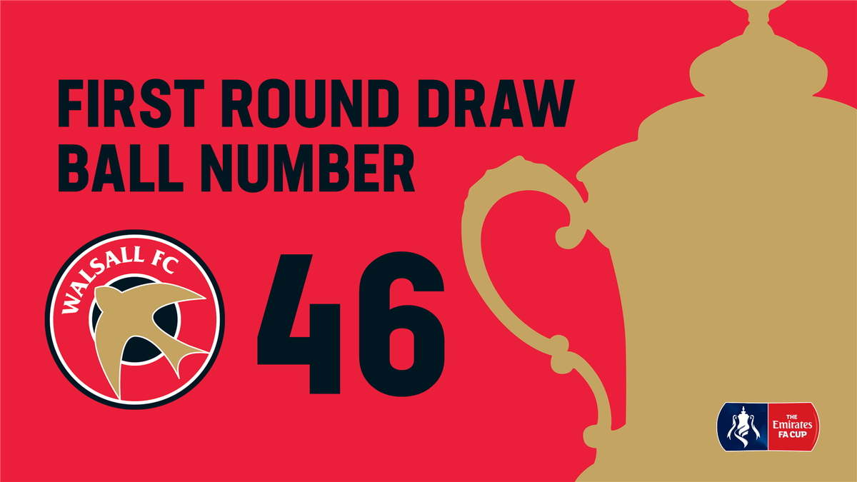 🏆 A reminder that the #Saddlers are ball no.46 in the #FACupDraw this evening Who would you like to see drawn against?