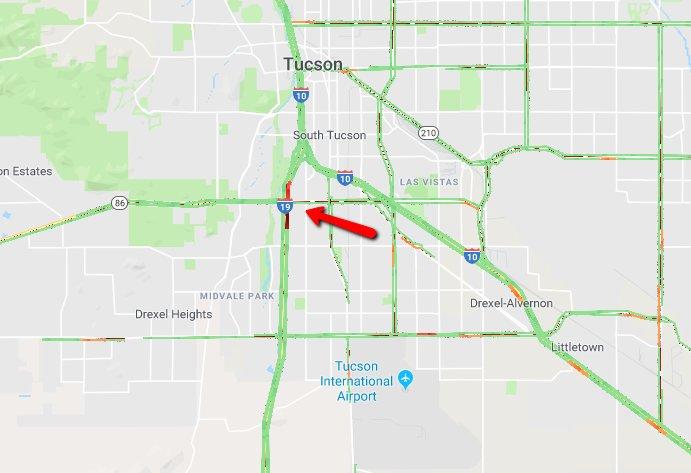I-19 NB at Ajo Way: Left 2 lanes blocked for a crash. #Tucson