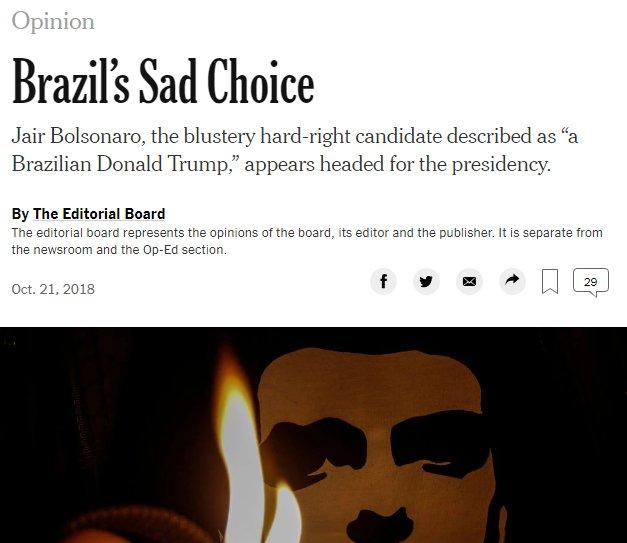 """New York Times sobre Bolsonaro: """"Uma triste escolha do Brasil"""" https://t.co/1TAoBOFkSr"""