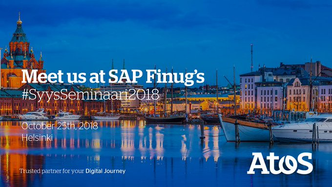 Meet us at #SAPFinug #SyysSeminaari2018 on October 25th in Helsinki. #AI #ML & #Digitalizat...