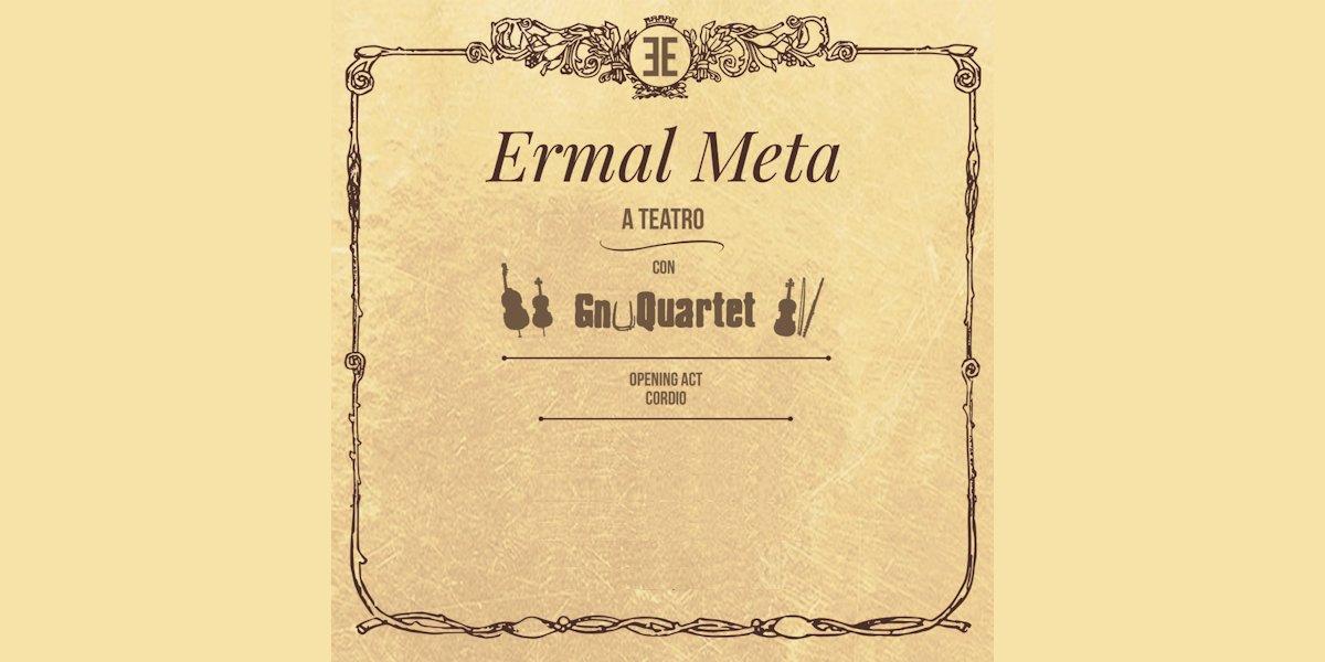 Dopo il tour indimenticabile di questa estate Ermal Meta torna per una nuova avventura live affiancato dagli GnuQuartet! https://t.co/jFIpvxYPEg Scopri tutte le date e acquista il tuo biglietto!
