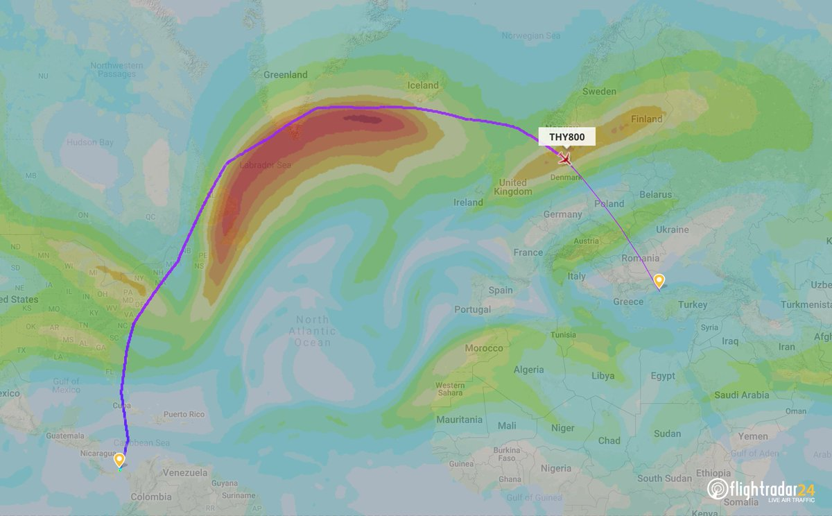 Here's the visualization of the jet stream during the flight. https://t.co/rDj9ANn53h