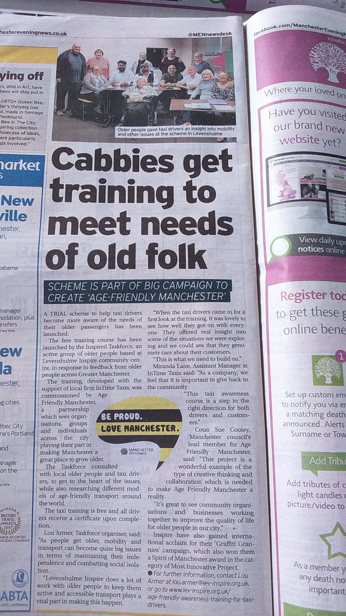 Were in the MEN today - read all about our #AgeFriendly Awareness Training for Taxi Drivers! @MCC_AFMTeam @AfAgeing @levinspire @ALLFM @MICRA_Ageing @bernardstone @susanmmcooley