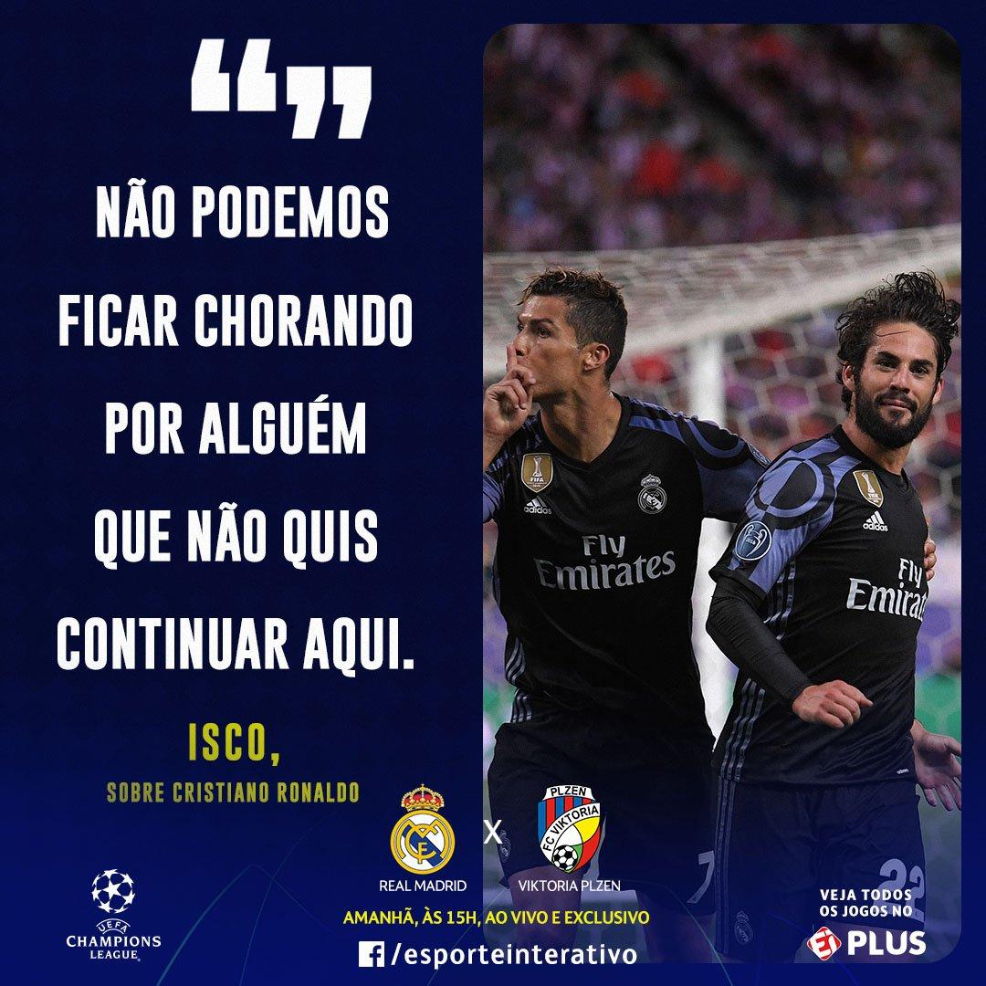 EITA! Se liga no que @isco_alarcon falou ao ser questionado sobre a falta que Cristiano Ronaldo faz no @realmadrid! Bateu saudade? #CasaDaChampions