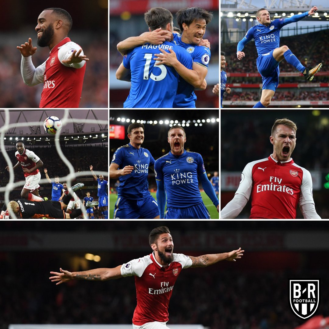 1-0: Lacazette 1-1: Okazaki 1-2: Vardy 2-2: Welbeck 2-3: Vardy 3-3: Ramsey 4-3: Giroud When Arsenal last met Leicester City at the Emirates 🔥