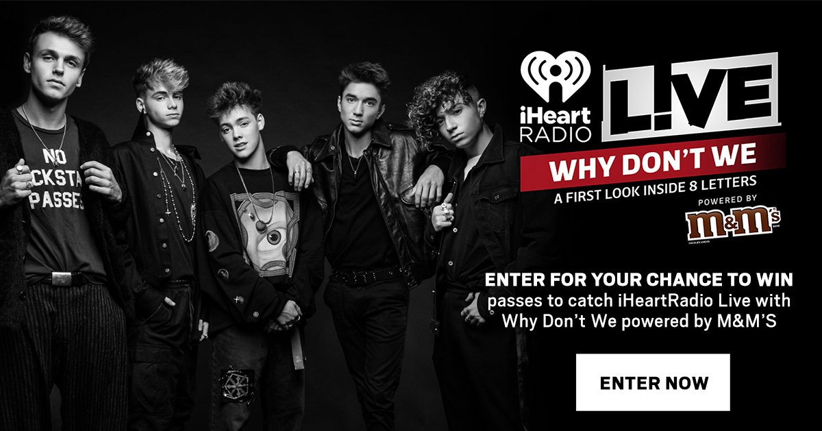 Win passes for you ➕ 3 friends to see @iHeartRadio LIVE with @whydontwemusic powered by @mmschocolate! Check our a FIRST LOOK inside #8Letters on 10/29 🎶🎧 Enter now #Limelights: https://t.co/ydoxgp6vqU ⬅️
