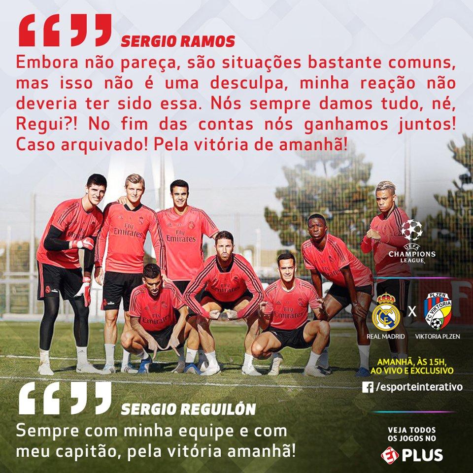 Após a confusão no treino de hoje do @realmadrid, @SergioRamos usou o seu Twitter para de desculpar com o jovem Sergio Reguilón. Se liga nas palavras do capitão! #CasaDaChampions