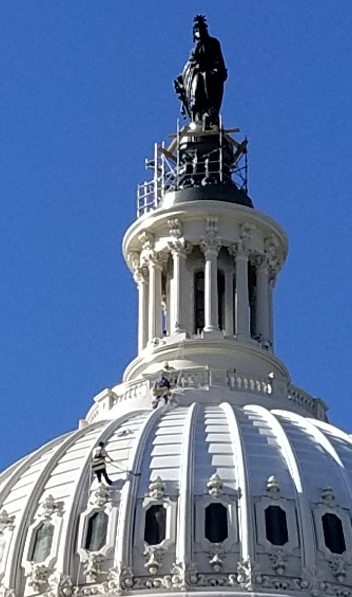 Workers painting the Capitol Dome on another gorgeous fall morning