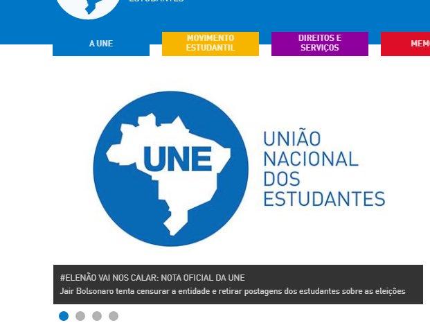 """TSE determina que UNE exclua link para página """"Bolsonaro Não"""". Ministro determinou a retirada ainda de textos e vídeo que representam conduta vedada. Entidade diz que não vai se calar https://t.co/A00C4XYZR3"""
