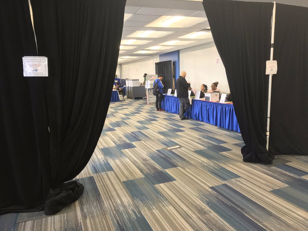 At Miami-Dade College North's early voting site. Steady pace of students coming in to vote. Never a wait, but never empty either.
