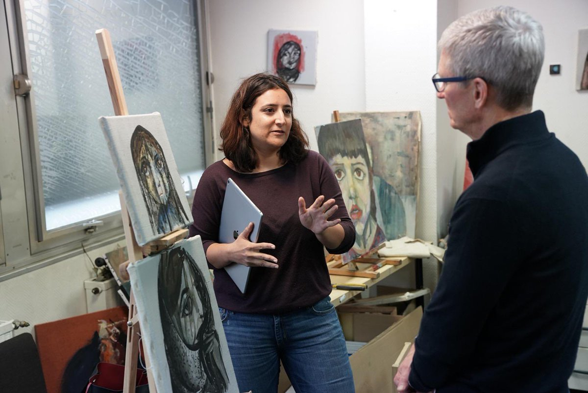 """A profoundly moving visit to @aartistesenexil in Paris. Through their works of creativity and courage, these artists are shining a light on the hardships that so many face as refugees. """"On ne voit bien qu'avec le cœur. L'essentiel est invisible pour les yeux."""""""