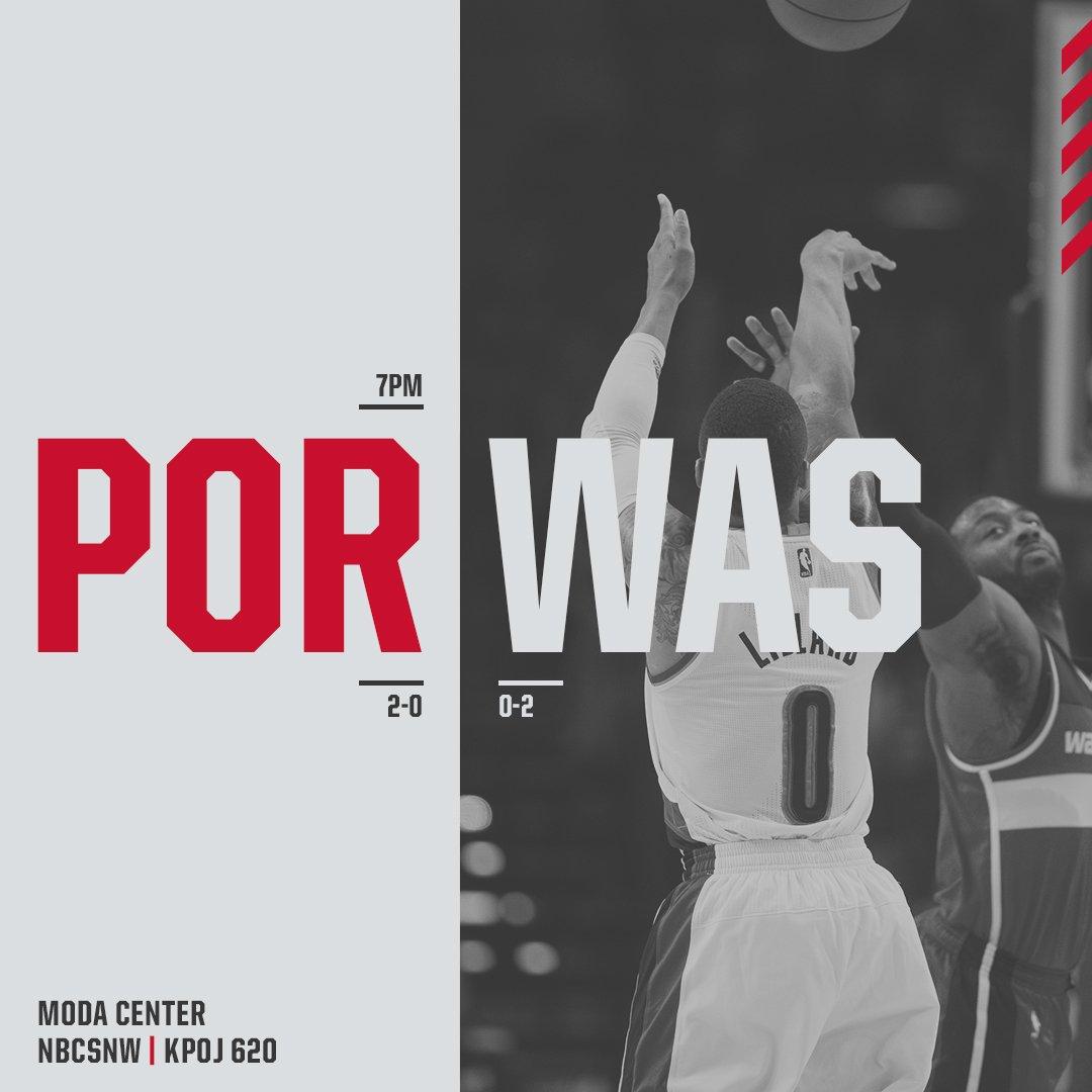 Monday Night Basketball.  @WashWizards vs. #RipCity, 7 p.m.  🏟: @ModaCenter  📺: @NBCSNorthwest  📻: @RipCityRadio620