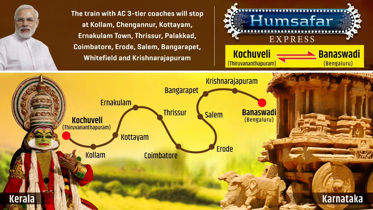 Featuring all AC 3-tier coaches with better seating, a GPS–based Information Display Board and CCTV cameras in every coach, the new Kochuveli-Banaswadi Humsafar Express will significantly reduce travel time between Kerala and Karnataka and increase connectivity within Tamil Nadu.