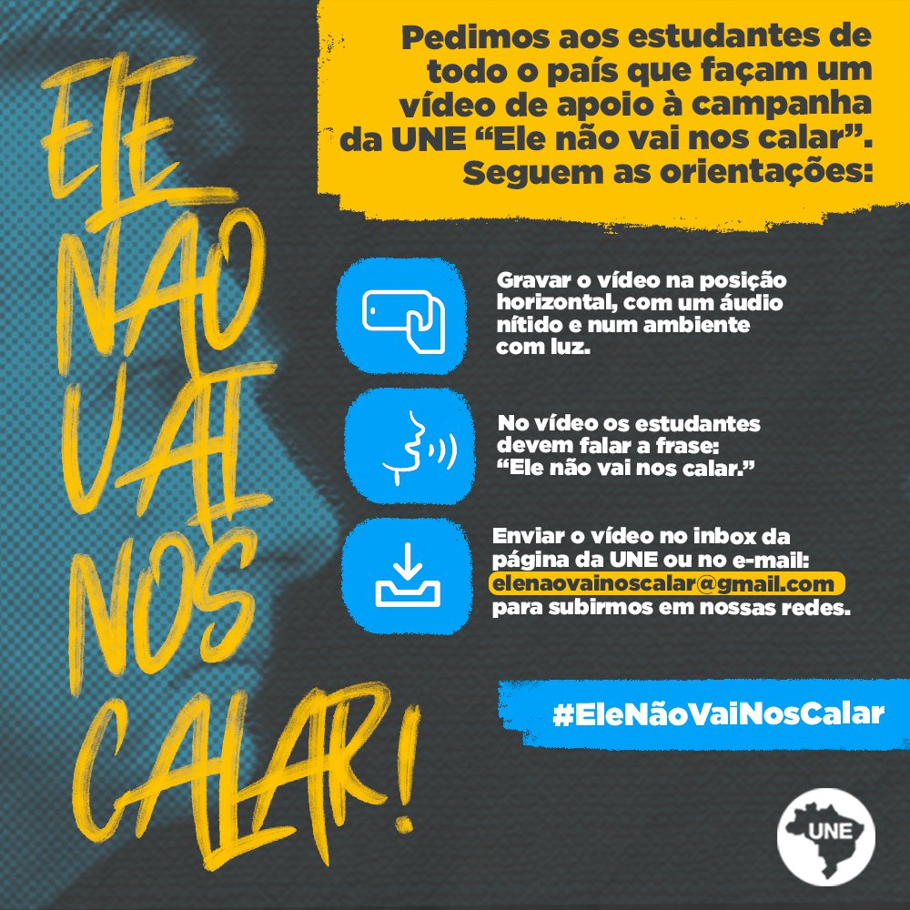 A primeira ação da ditadura de 64 foi incendiar a sede da UNE com estudantes dentro. Passamos por tempos sombrios e pedimos o apoio de todos os estudantes brasileiros. Grave um vídeo e nos mande pelo inbox ou pelo e-mail: elenaovainoscalar@gmail.com. #EleNãoVaiNosCalar