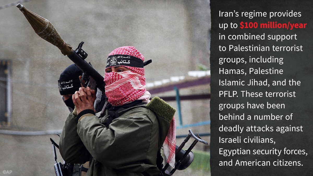 #Iran's regime provides up to $100 million/year to the Palestinian terrorist groups. Imagine how many Iranian people's salaries the regime could fund with all that money.