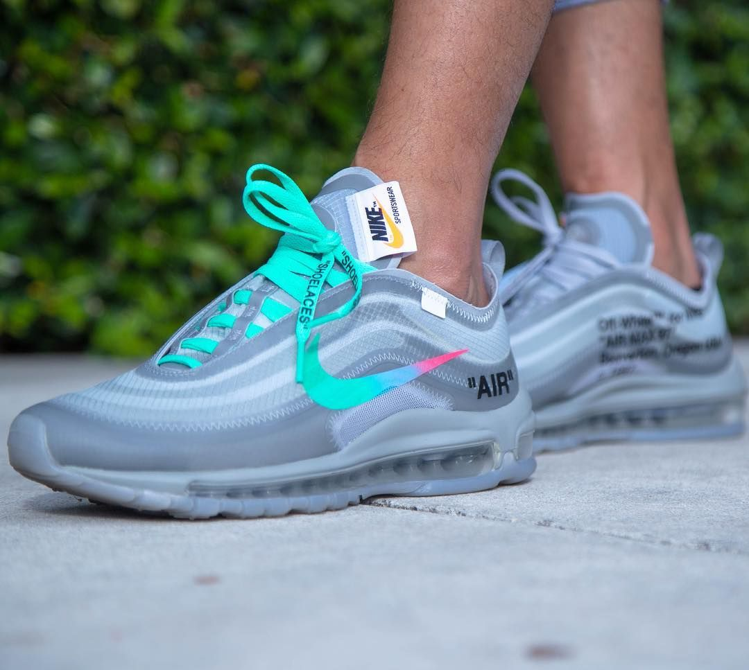 An on foot look at the Off-White x Nike Air Max 97  Wolf Grey  https    thesolesupplier.co.uk news foot-look-off-white-x-nike-air-max-97-wolf-grey   ... 3695825cf
