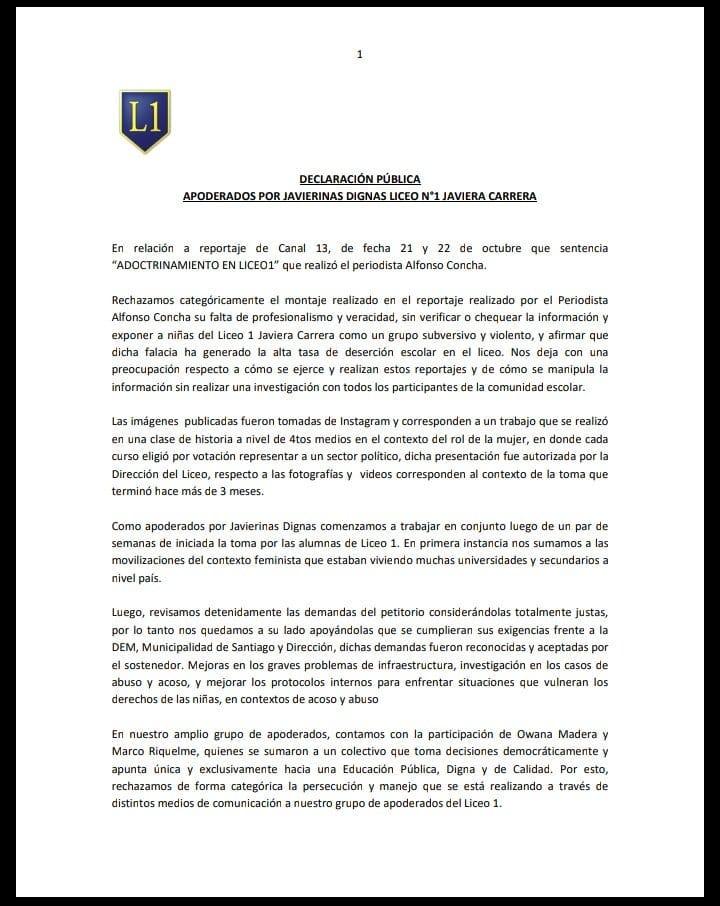 Verdaderamente vergonzoso que @canal13, a través de su periodista Alfonso Concha -quien 'reporteó' el caso Huracán-, hoy se preste para este montaje. Está bien que el gobierno quiera que se apruebe su proyecto de #AulaSegura, pero recurrir a estas prácticas ya es inaceptable
