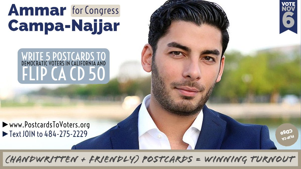 Check your mail, @ACampaNajjar, because tens of thousands of fun, friendly #PostcardsToVoters will arrive in #CA50 from volunteers. Your candidacy is an inspiration and one worth each of us to write to 5 of your voters. =) Anyone can help write 5. Text JOIN to (484) 275-2229
