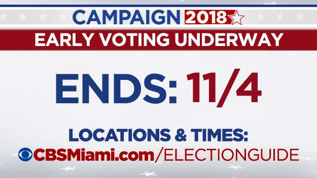 It's day two of #earlyvoting in Miami-Dade, Broward and Monroe Counties. Have you voted yet? Check out our complete #ElectionGuide for everything you need to know. https://t.co/e7yPM1opbH #elections2018