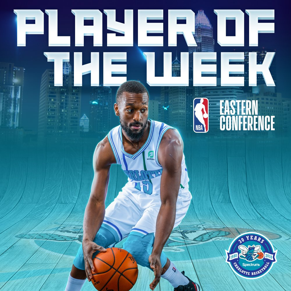 KEMBA HAS BEEN NAMED EASTERN CONFERENCE PLAYER OF THE WEEK! 🏆CONGRATULATIONS, @KEMBAWALKER! 🎉 → on.nba.com/2R1SlAe