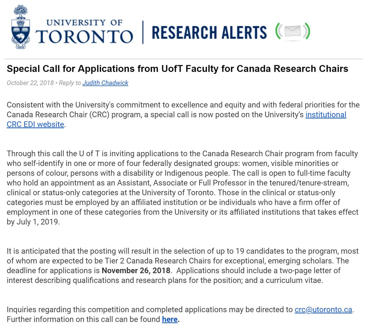 Program originally designed to attract the best scientists from around the world, bar none, to Canada: