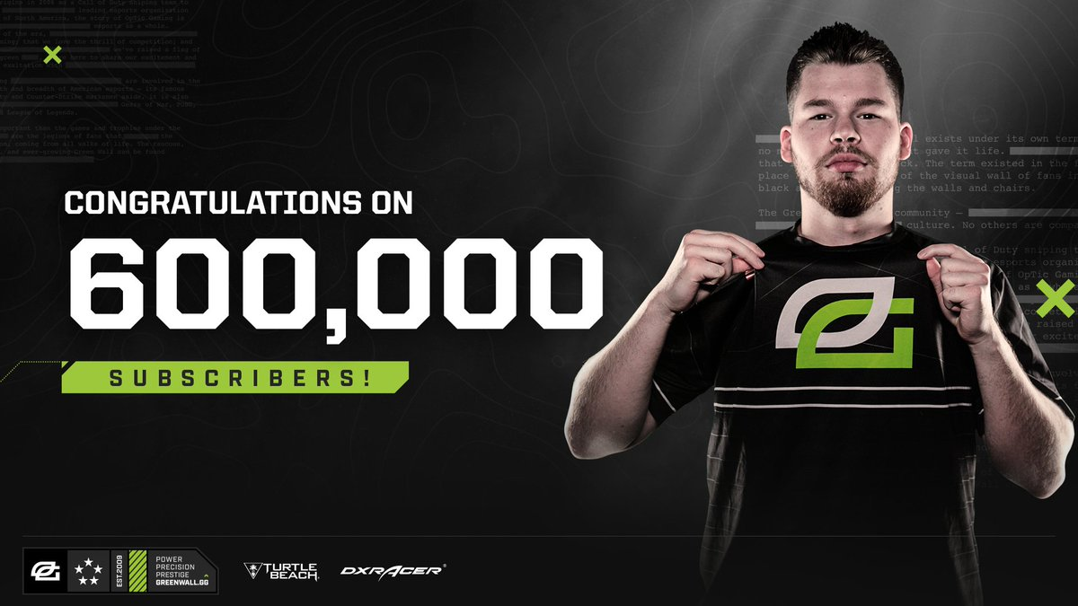 Congrats to the half man, half machine, @OpTic_Crimsix on reaching 600k subs on YouTube!  His recent #BlackOps4 videos have been 🔥🔥 Go check them out here: https://t.co/CnggoJs4tJ
