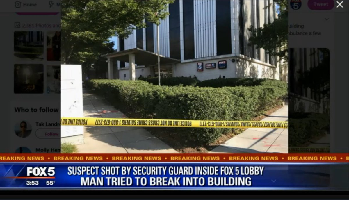 JUST IN: Man shot by security guard after breaking into the FOX 5 building in Washington, D.C., station says. Motive unknown.