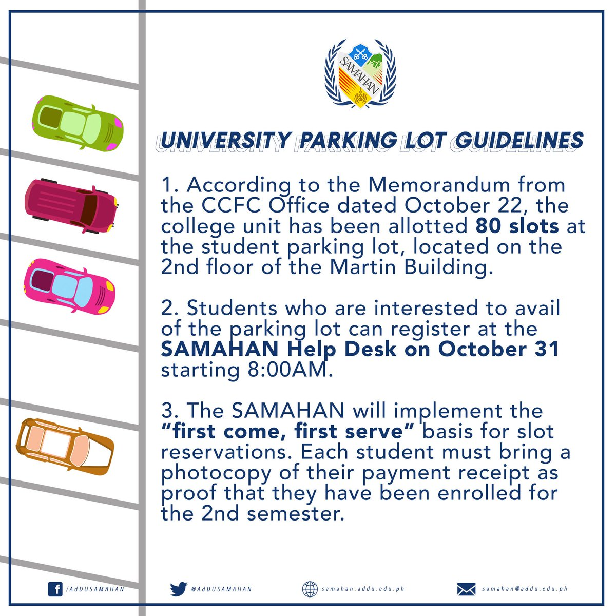 ATTN | University Parking Lot Guidelines for Undergraduate Students