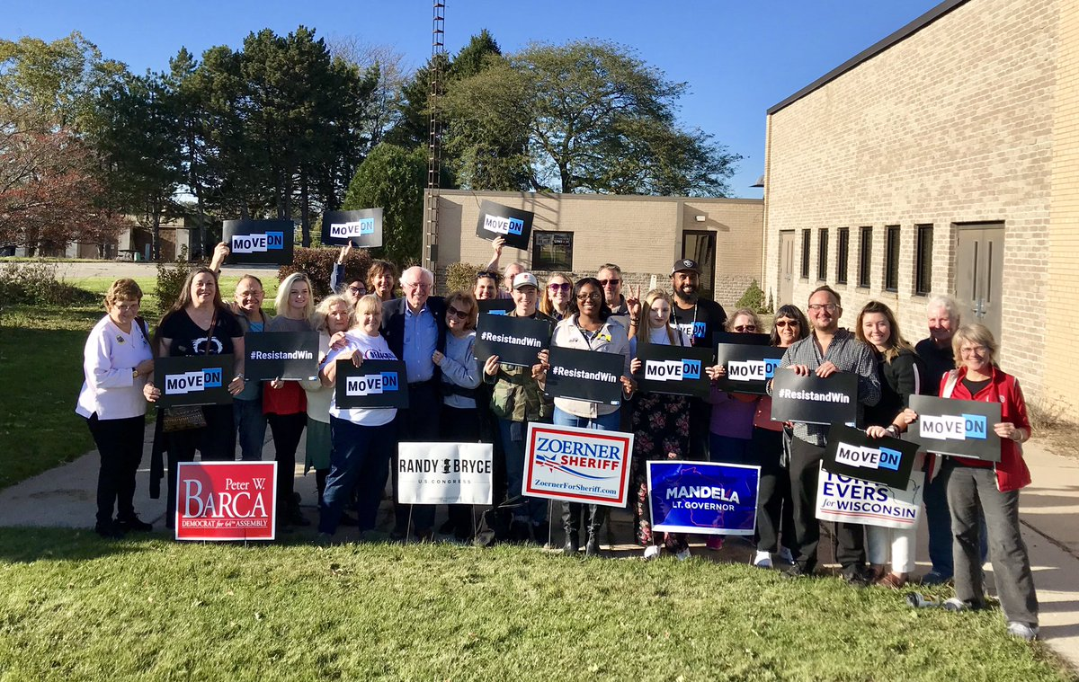 Local MoveOn members joined @BernieSanders outside the UAW Local 72 union hall today after killer rally with @IronStache. Everyone's fired up to power the blue wave!
