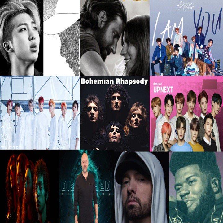 TOP 10 ALBUMS ON 🌎 ITUNES TODAY 1⃣mono #RM 2⃣AStarIsBorn #LadyGaga 3⃣IamYOU #StrayKids 4⃣Take1AreYouThere #MONSTAX 5⃣BohemianRhapsody #Queen 6⃣UpNextSessionNCT127 #NCT127 7⃣AnthemOfThePeacefulArmy #GretaVanFleet 8⃣Evolution #Disturbed 9⃣Kamikaze #Eminem 🔟Suncity #Khalid