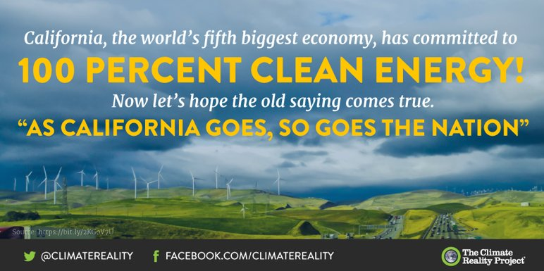 California is sending an important message to the rest of the world: If we can switch to #CleanEnergy, you can too: https://t.co/1JrjqKhydY