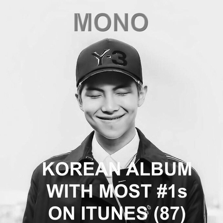 #RM's #mono is now officially THE Korean Album with the most #1s on iTunes ever! #monoishere 👏1⃣🇰🇷💿🌎👨‍🎤👑