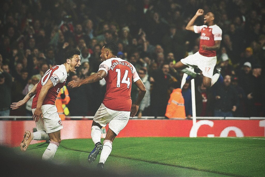 Leno, Holding, Xhaka, Torreira, Özil, Bellerín, Guendouzi, Lacazette and Aubameyang were all involved in Arsenal's third tonight. 16 touches. 9 passes. A beautiful team move. Goal of the season.