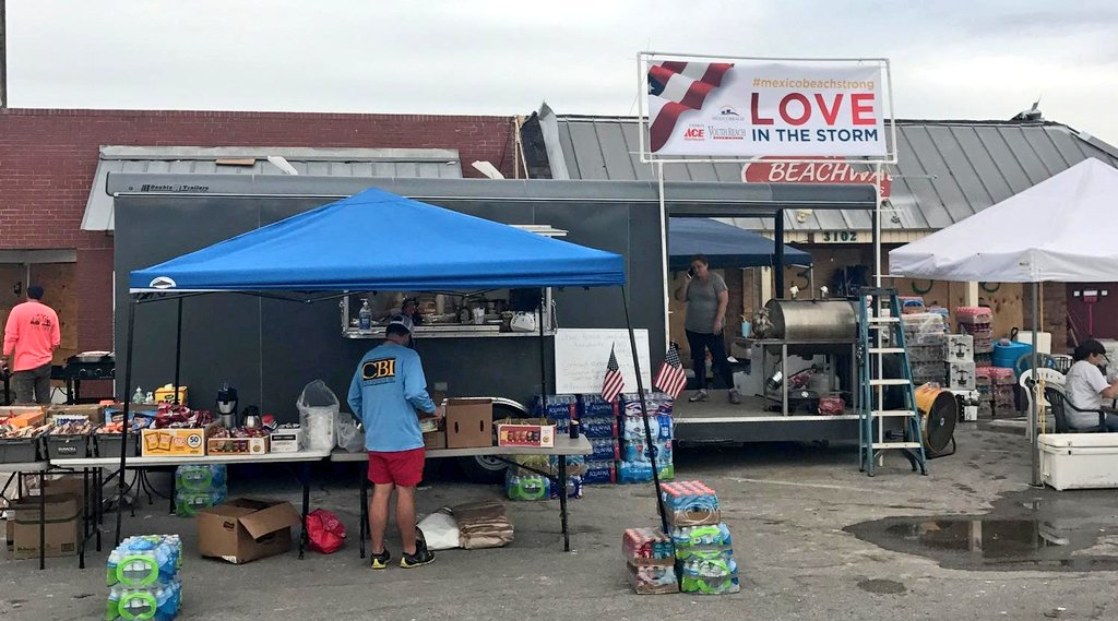 Hot meals, water, snacks, supplies, tarps, gloves &amp; hard hats, dog food &amp; much more. Mexico Beach Strong/Love in the Storm Hwy 98 @ 36 St. 7:30am-7pm daily. #HurricaneMichael #mexicobeachfl #MexicoBeach #850Strong #BayRecovers @BayCountyEM<br>http://pic.twitter.com/yH1rlh3bwn