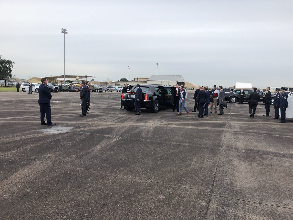 As Trump arrived in Texas to help his old foe Ted Cruz keep his seat, he patted Cruz on shoulder twice then invited him to ride in Beast with him.   Cruz nodded and then tried to climb in on POTUS side of the car.  Secret Service agent ordered him away — other door, senator.