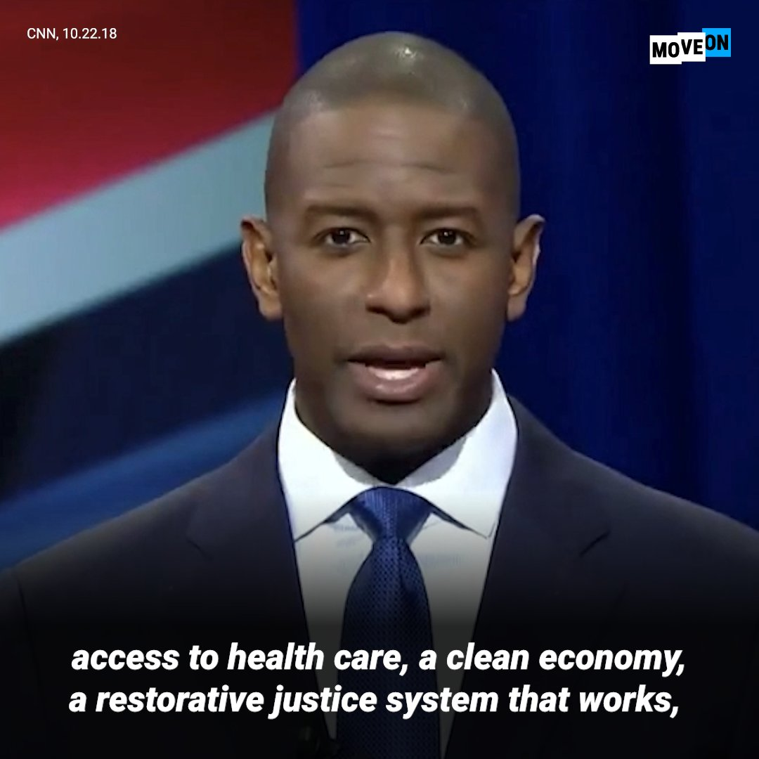 .@AndrewGillum delivered a powerful rejection of Trumps hateful politics of division at last nights debate for Florida governor. Were with Gillum!