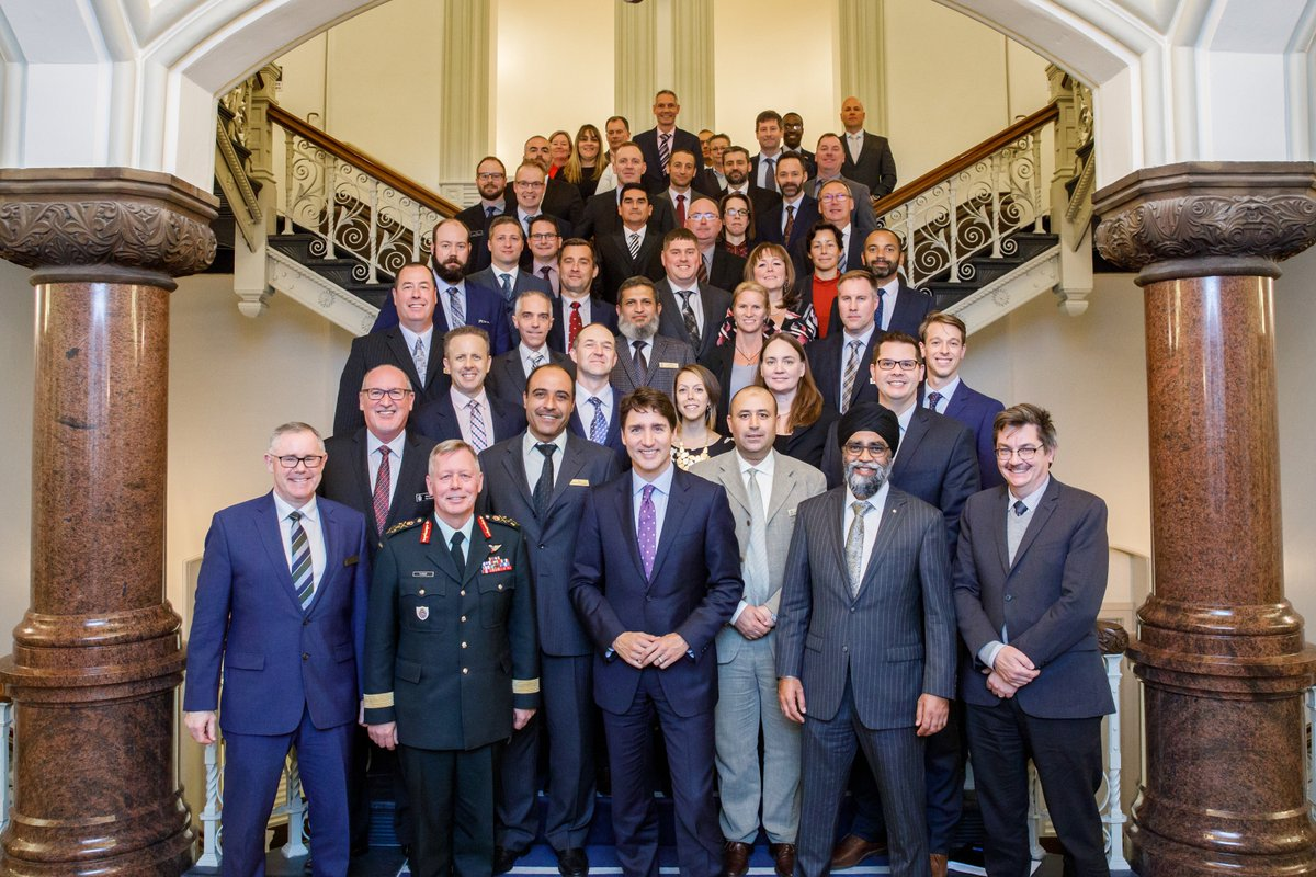 Our Prime Minister engaging with the National Security Programme. NSP 11 is a group of National Security Practitioners from the Canadian Armed Forces, Allied militaries and executives from throughout the government. This week focuses on leadership at the Centre. @CAF_College