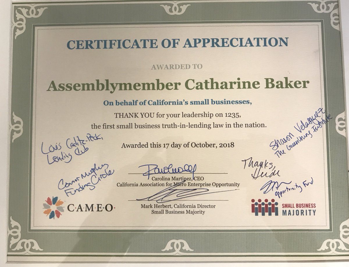 Honored To Work To Support Small Businesses In California Thank You