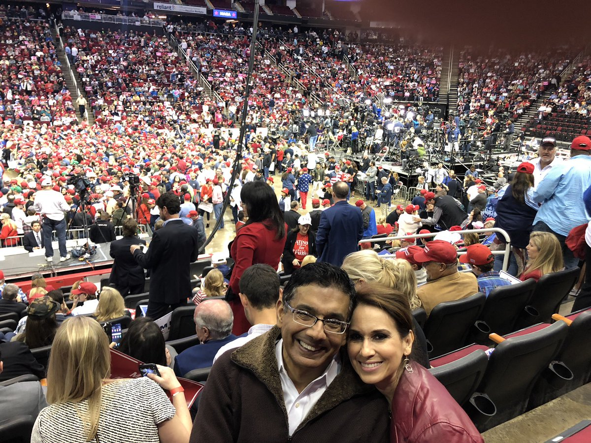 My wife @Debber66 and I are in the Toyota Center to cheer @tedcruz and hear from @realDonaldTrump —on stage in a few minutes