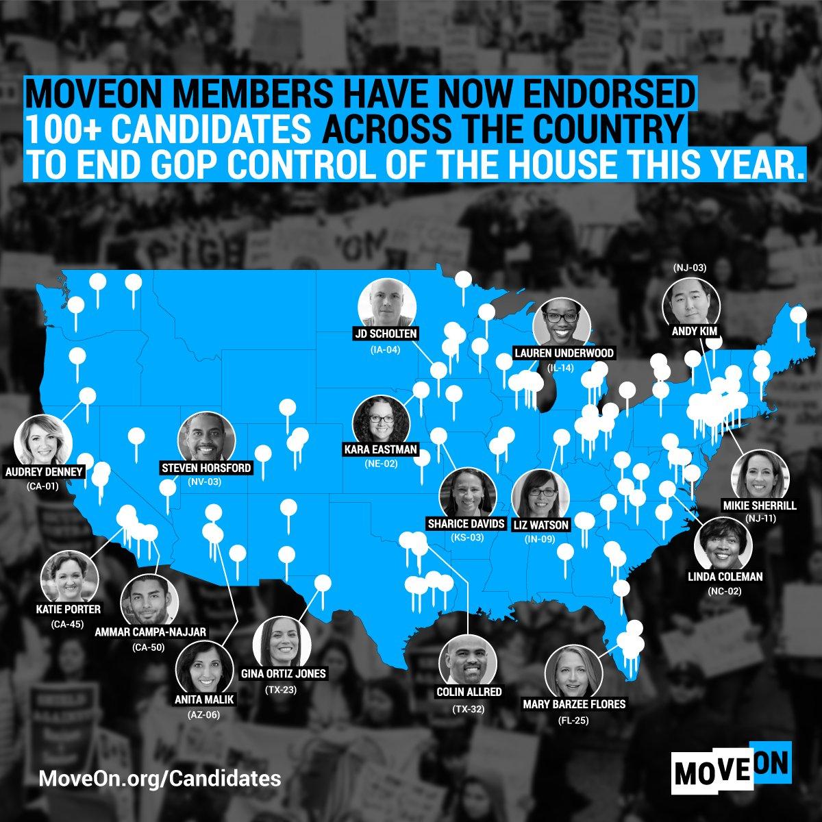 .@HouseGOP - were coming for your seats. 🌊 @GinaOrtizJones, @ColinAllredTX, @MBFforCongress, @katieporteroc, @audrey4congress & more! Learn more about the #ResistAndWin program: moveon.org/resistandwin