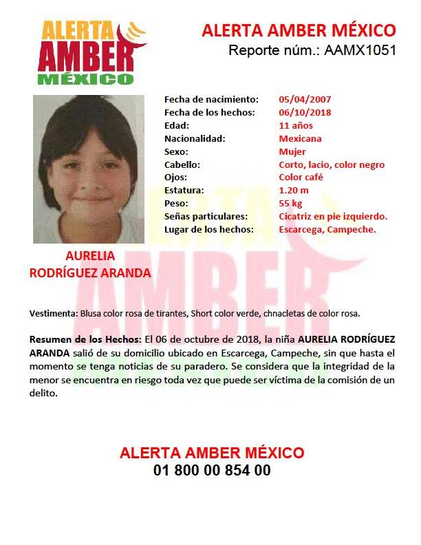 #AlertaAmberMx continúa la búsqueda para la localización de la niña AURELIA RODRÍGUEZ ARANDA de 11 años de edad.